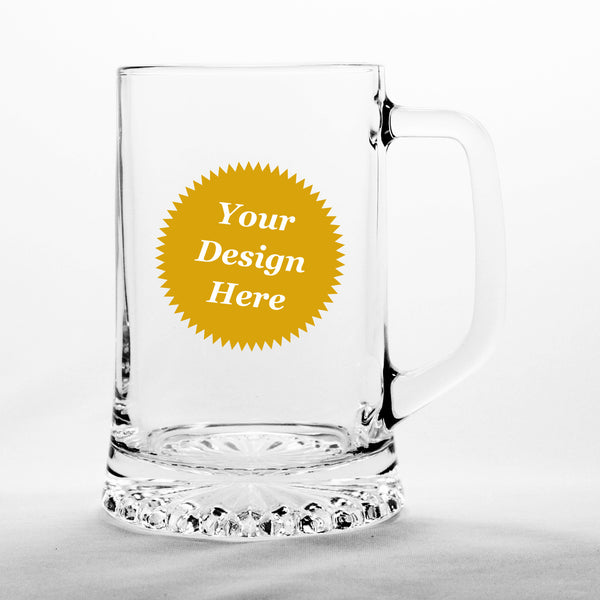 custom etched beer tankard glass stein