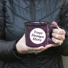 Custom engraved purple camp mug