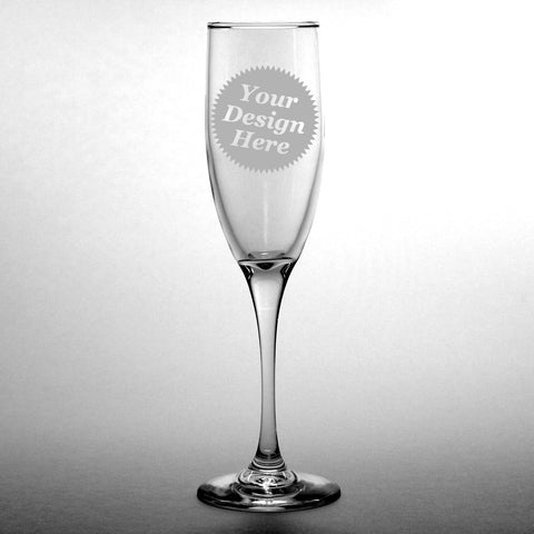 Custom champagne flutes by Bread and Badger