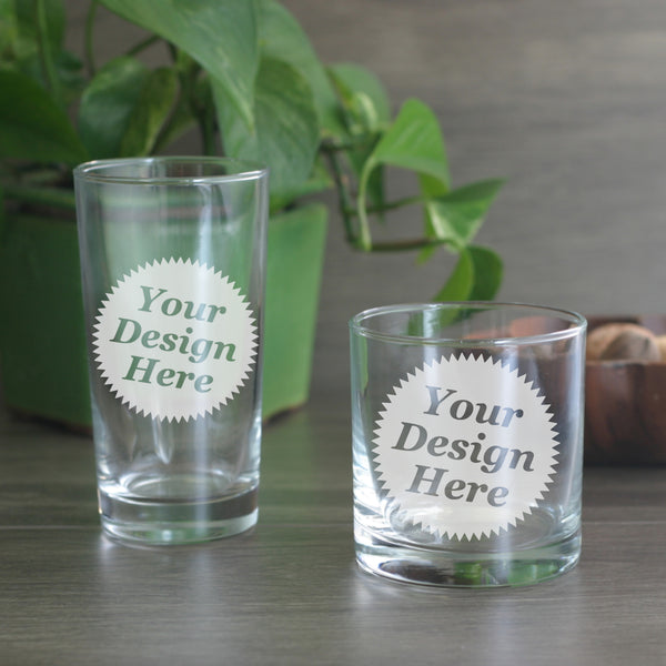 custom etched hi-ball and lowball glasses