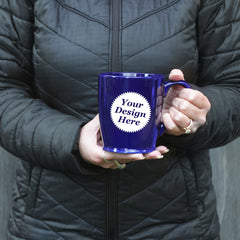 custom sandcarved mug in navy blue