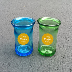 Engraved colorful recycled glass tumblers