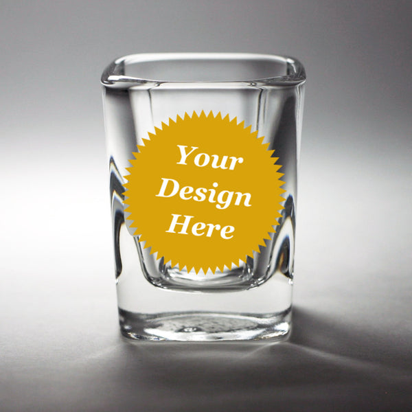 custom etched square shot glass