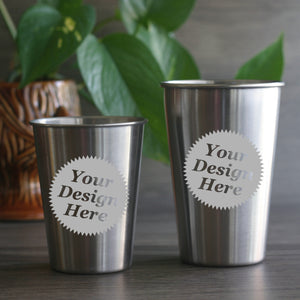 Custom Etched Stainless Steel Cups