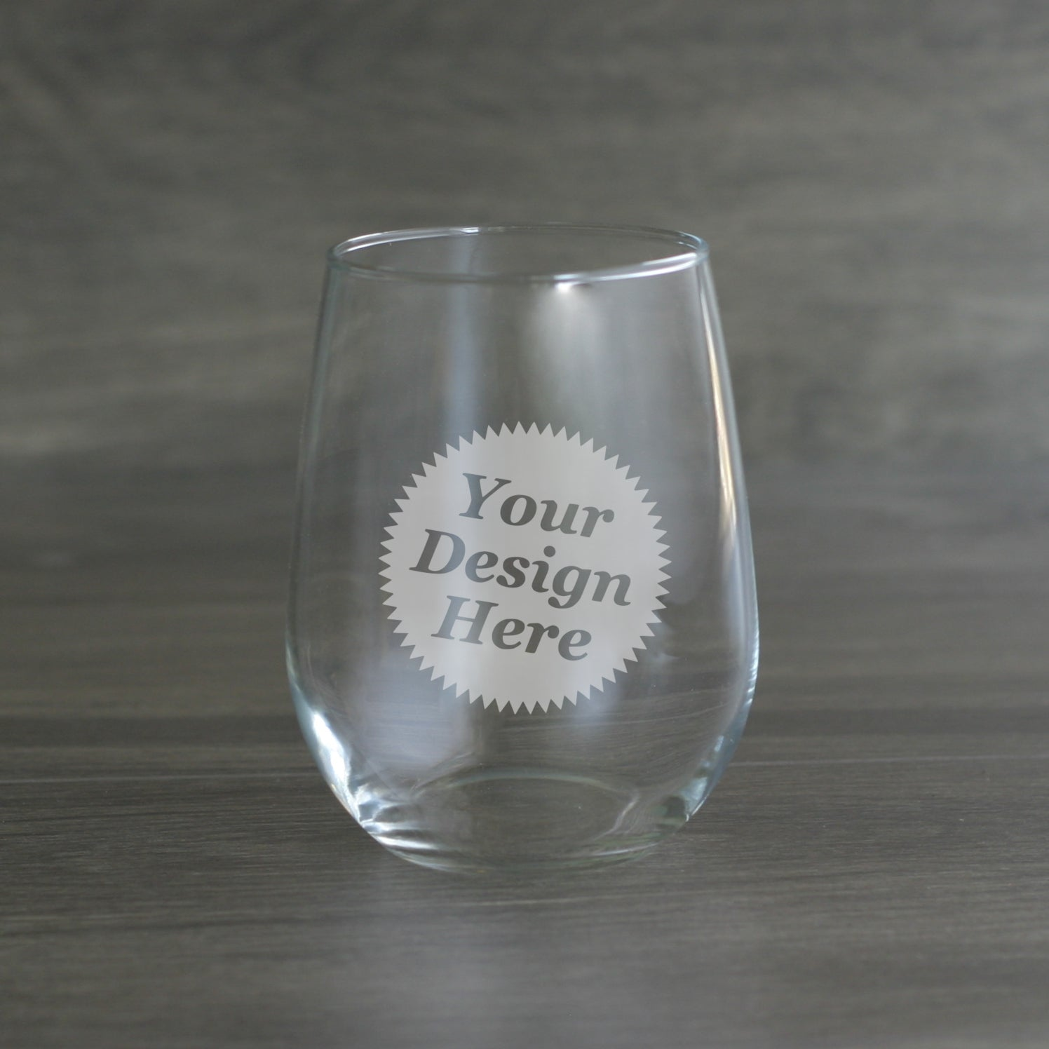 Custom Etched Stemless Wine Glass