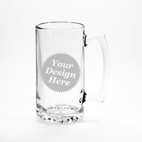 Beer Mug, Made-to-Order etched glass with any stock design