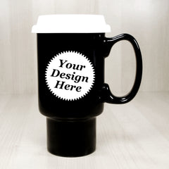 Custom large handled travel mug in black