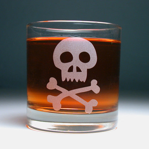 skull and bones lowball glass