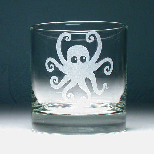 cute octopus lowball glass