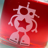 cute robot lowball glass