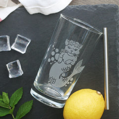 Mermaid Cat Cocktail Glass - dishwasher-safe etched glassware