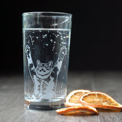 Stretch Cat Cocktail Glass - etched glassware