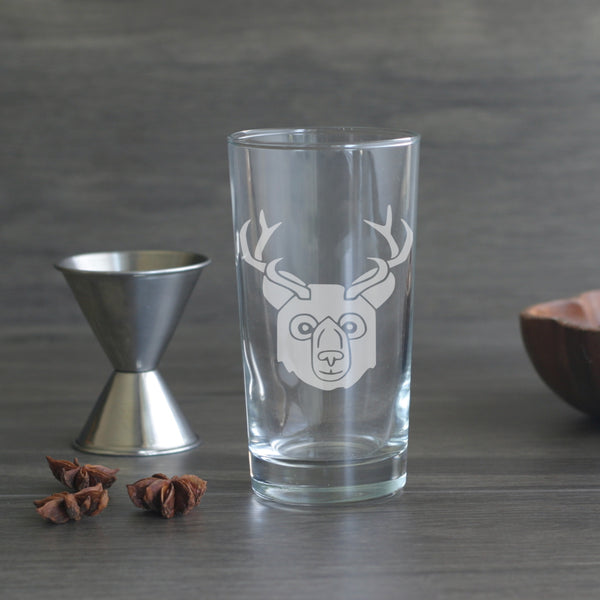 Bear with Deer Antlers highball glass