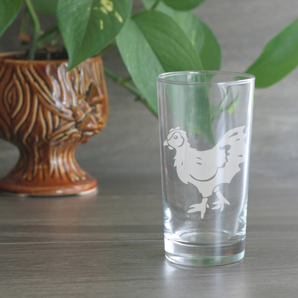 Chicken engraved highball glass