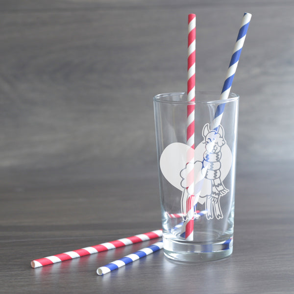 Llama etched highball glass