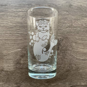 Mermaid Cat highball glass engraved by Bread and Badger