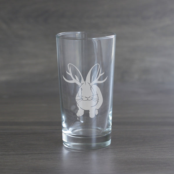 Jackalope etched highball glass