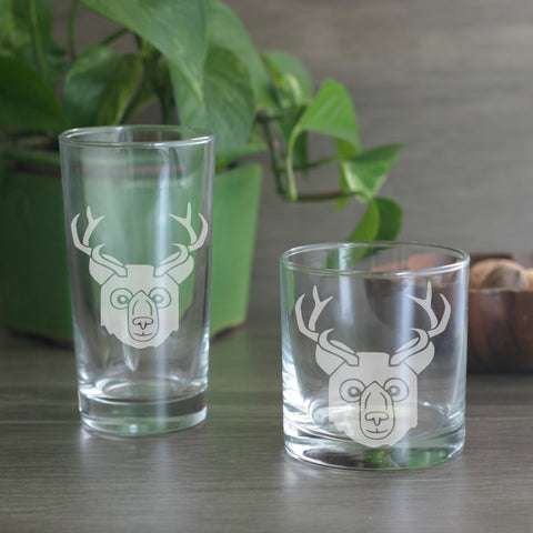 Bear with Deer Antlers cocktail glasses