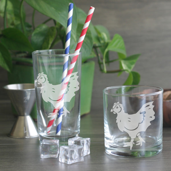Chicken etched cocktail glasses
