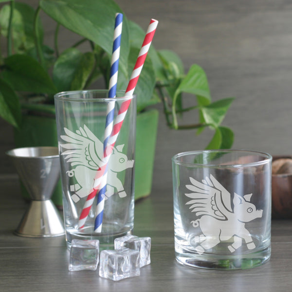 Flying Pig cocktail glasses