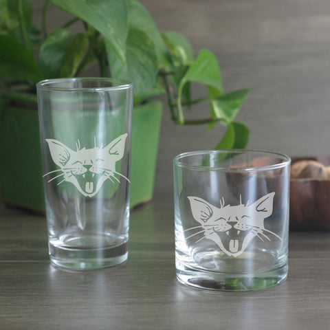 Laughing Cat cocktail glasses