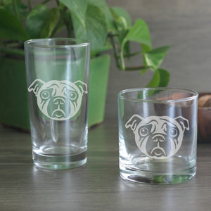 Pug dog cocktail glasses