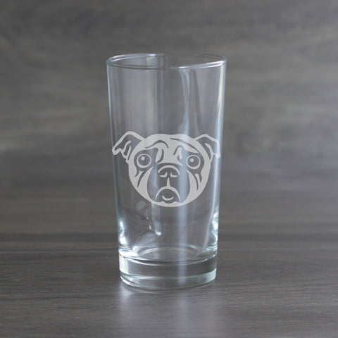 Pug dog etched hiball glass