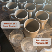 Handmade mugs by a local ceramicist; sandblasted by Bread and Badger in Portland, OR