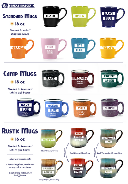 Bread and Badger mug colors and styles