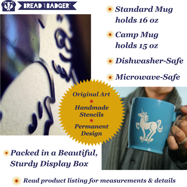 Sandblasted mug features