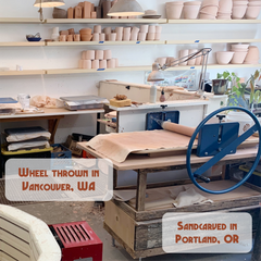 pottery studio in Vancouver, WA where Bread and Badger mugs are made, then sandcarved in Portland, Oregon