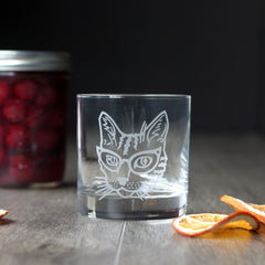 Glasses Cat Cocktail Glass - dishwasher-safe etched glassware
