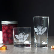 Bee Cocktail Glass - dishwasher-safe etched glassware