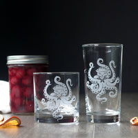 Octopus Cat Cocktail Glass - etched glassware