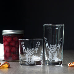 Stretch Cat Cocktail Glass - dishwasher-safe etched glassware