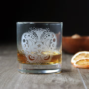 Moth Cat Cocktail Glass - dishwasher-safe etched glassware