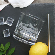 Mountain Trail Cocktail Glass - dishwasher-safe etched glassware