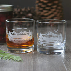 Mountain Cocktail Glass - etched glassware