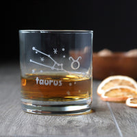 Zodiac Constellation Lowball Glass - etched glassware