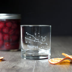 Zodiac Constellation Lowball Glass - dishwasher-safe etched glassware