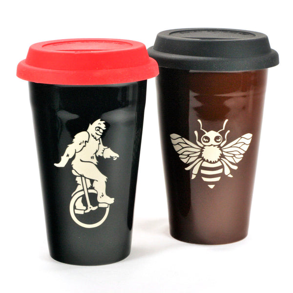 red or black silicone travel mug lids