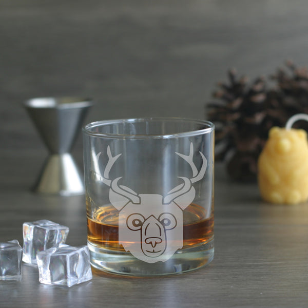 Bear with Deer Antlers etched whiskey glass