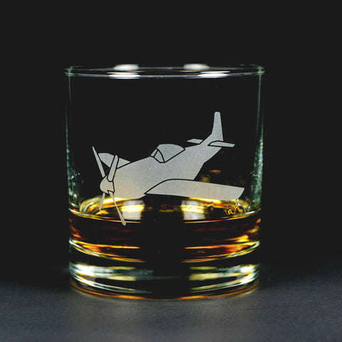 Airplane Lowball Glass