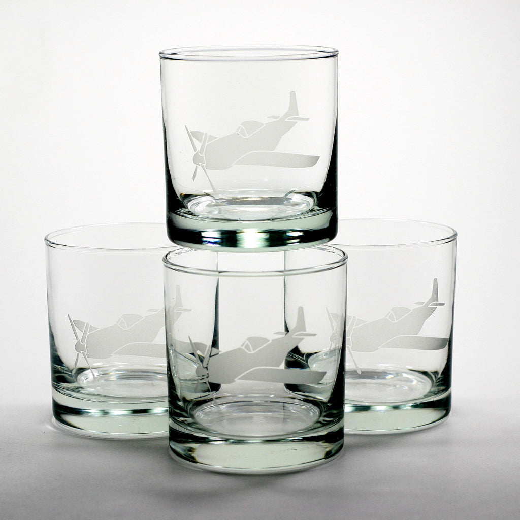 vintage airplane lowball glasses set of 4