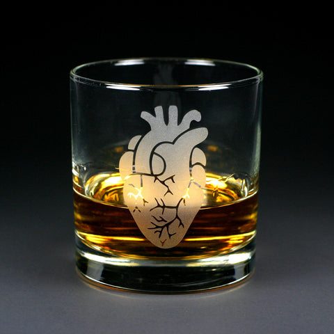 Anatomical Heart Lowball Glass