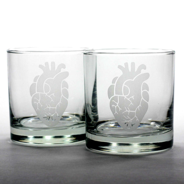 set of 2 anatomical heart lowball glasses