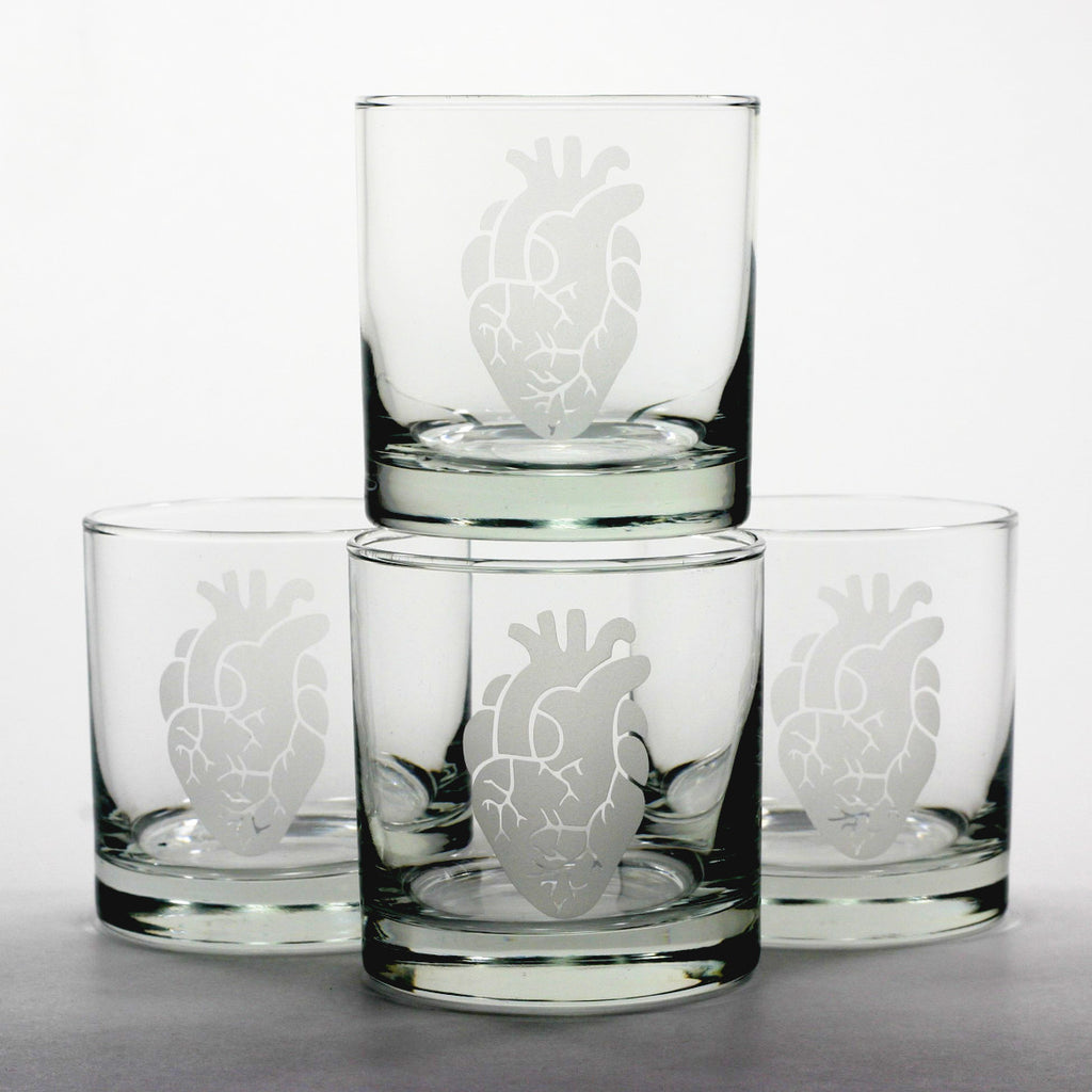 etched anatomical heart whisky glass set of 4