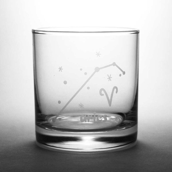 aries constellation lowball glass by Bread and Badger