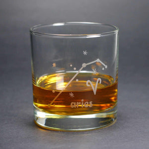 aries zodiac lowball glass by Bread and Badger