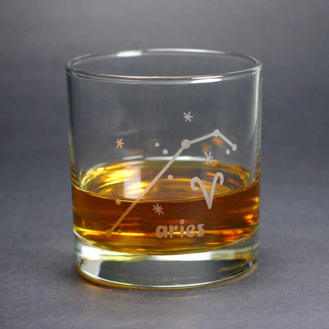 aries constellation lowball glass, by Bread and Badger